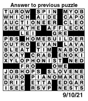 Answers to Previous Crossword