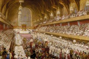 19th centuary painting of Westminster Hall.